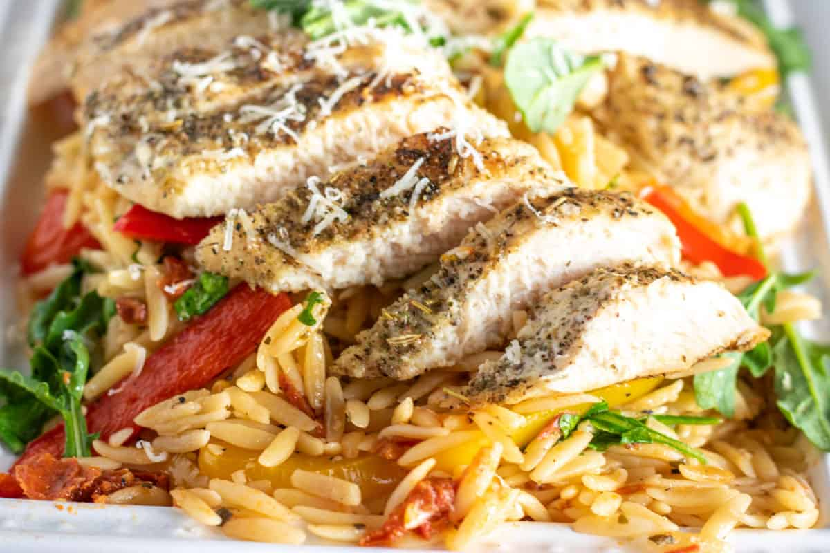 chicken and orzo on a plate