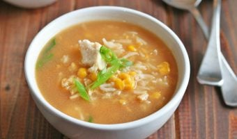 Asian Style Chicken and Corn Soup with Rice