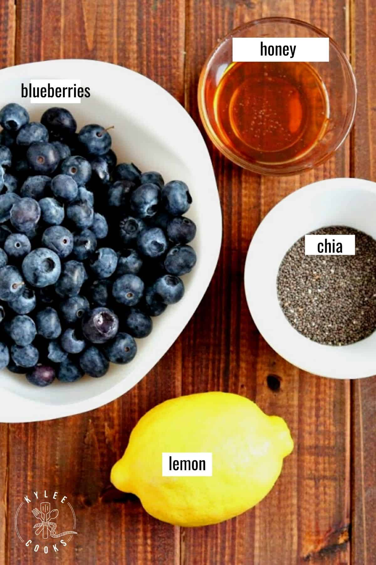 blueberry chia seed jam ingredients laid out