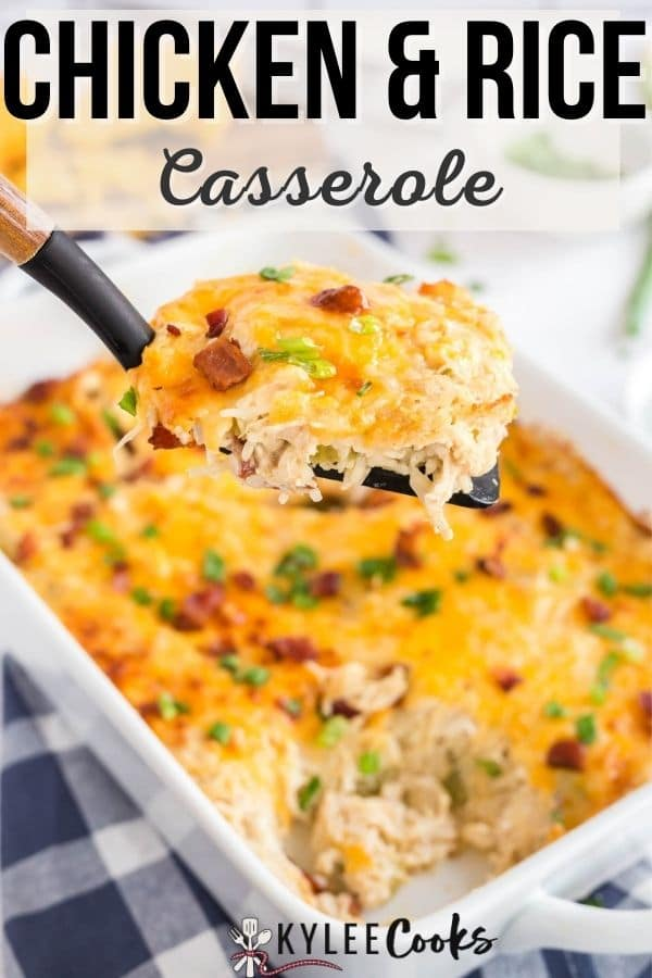 chicken rice casserole pin with text overlay