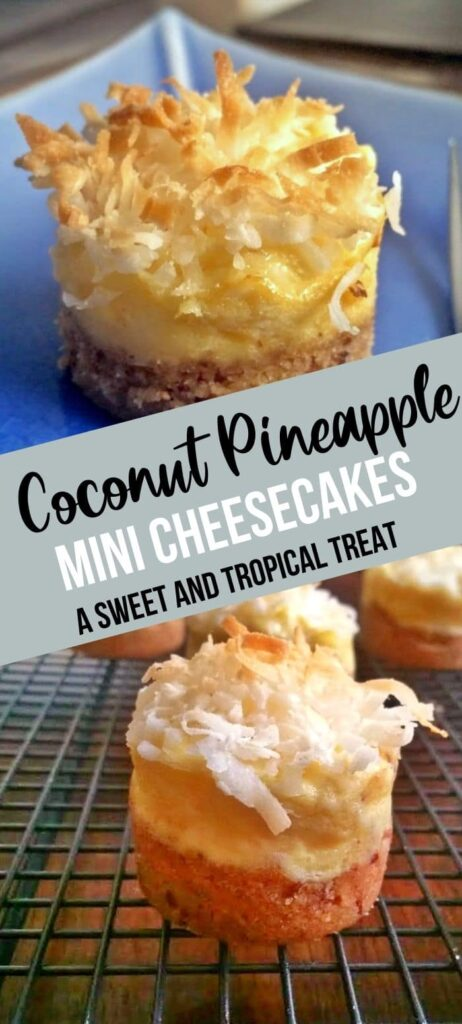 Coconut Pineapple Cheesecake pin with text overlay