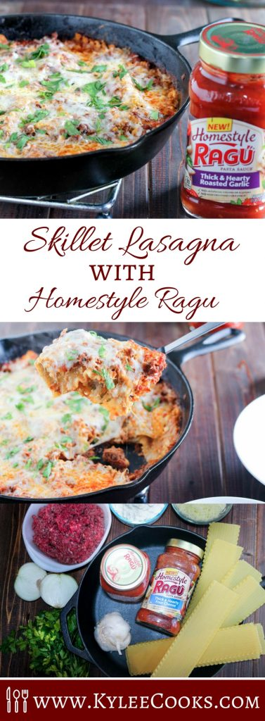 A delicious skillet lasagna that is made in a cast iron skillet - this weeknight winner pleases the whole family!
