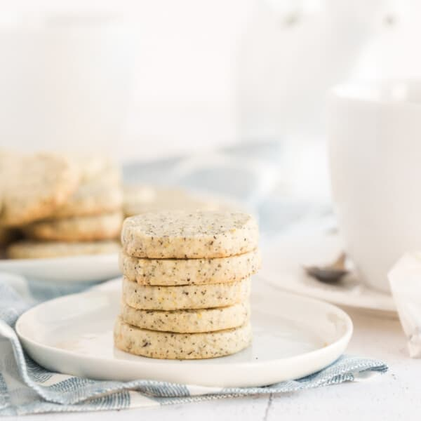 cookies stacked on a saucer