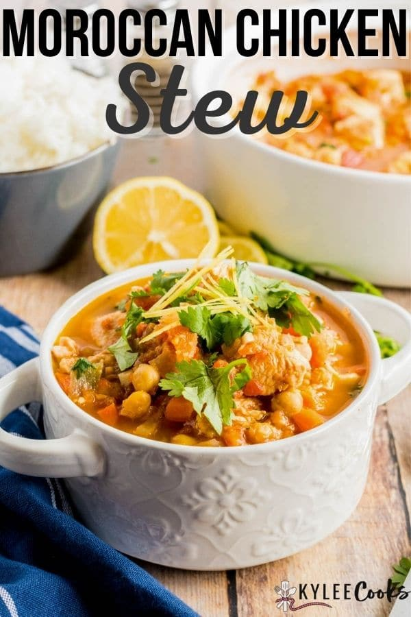 moroccan chicken stew pin with text overlay