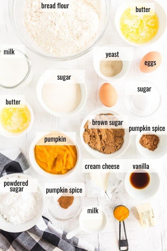 ingredients to make pumpkin cinnamon rolls