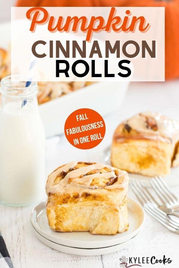 pumpkin cinnamon rolls pin with text overlay