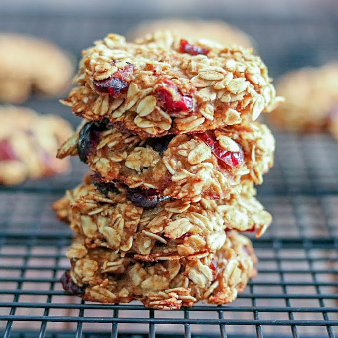 Oatmeal Cranberry Breakfast Cookies on a cooling rack