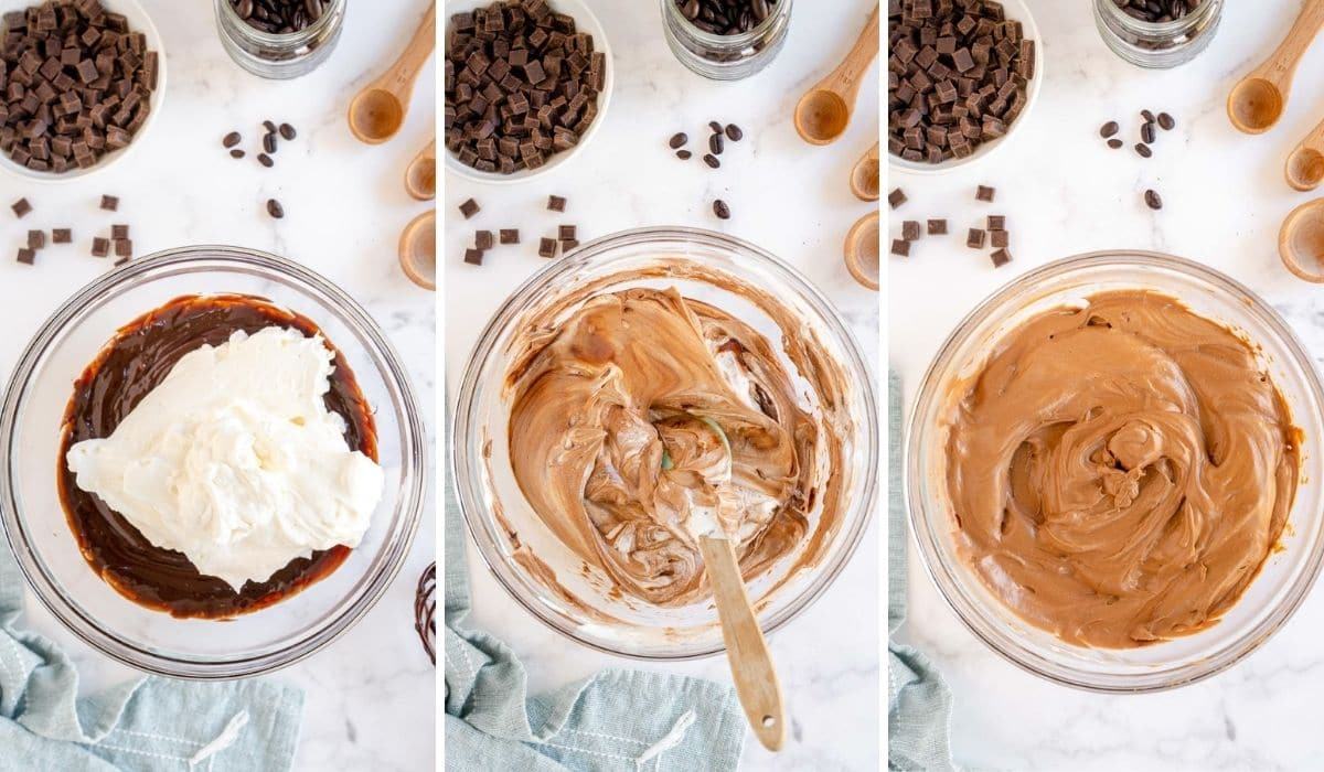 step by step photos showing how to combine the two things for mousse