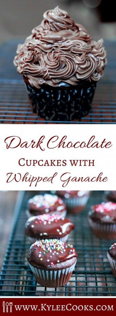 Dark chocolate cupcakes are the perfect partner to this decadent and rich whipped ganache. Easy to make, and delicious, chocolate lovers will enjoy this!