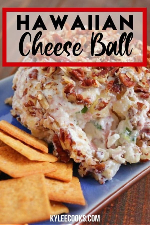 Ham & Pineapple Cheese Ball pin with text overlay