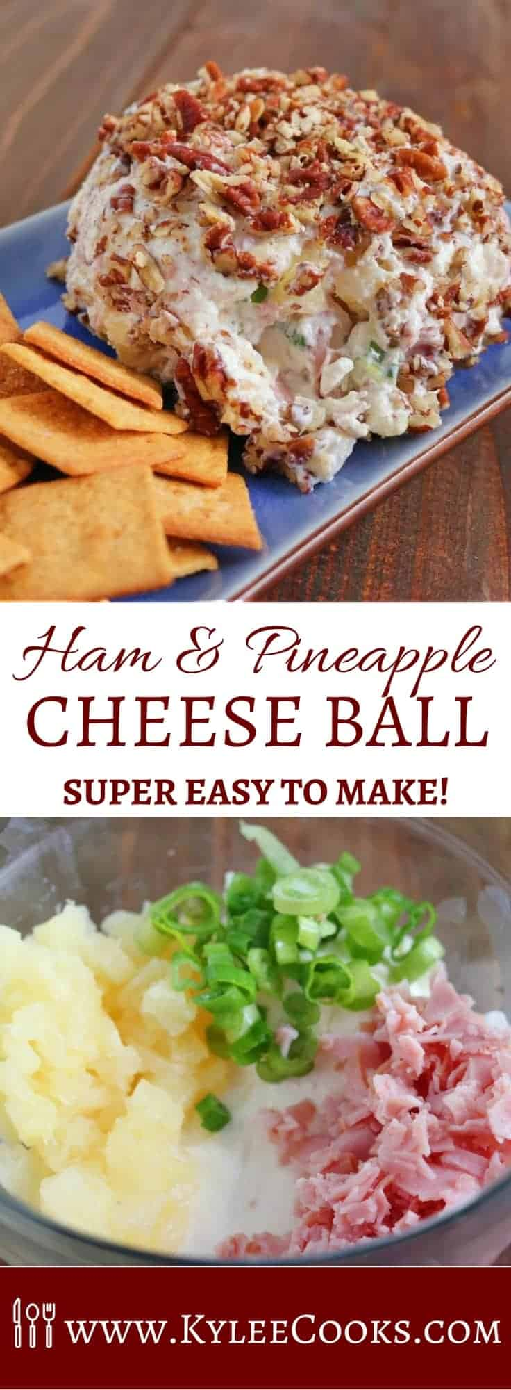 Easy and fast to mix up, and place in the fridge for later. A great make ahead appetizer, this Ham & Pineapple Cheese Ball is sure to please the majority of guests!