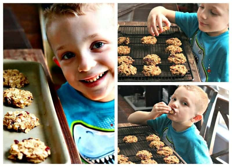 collage of boy eating cookies