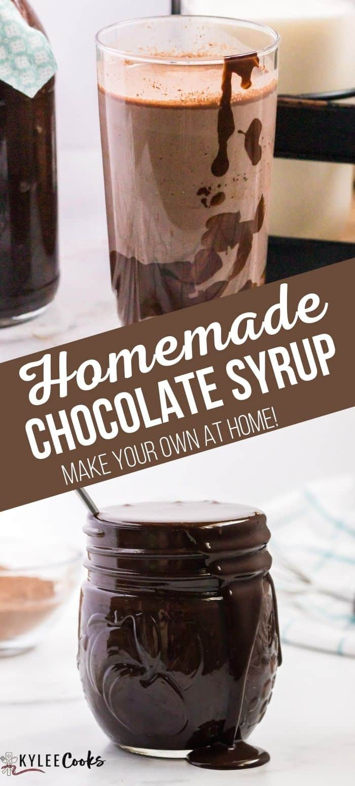 collage of chocolate syrup with recipe title in text overlaid