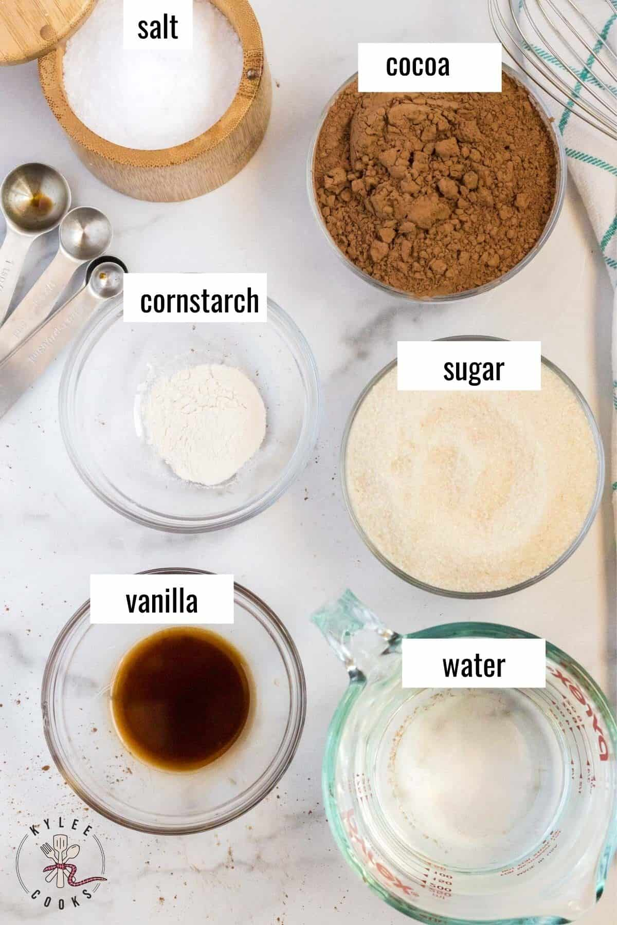 ingredients for homemade chocolate syrup laid out and labeled