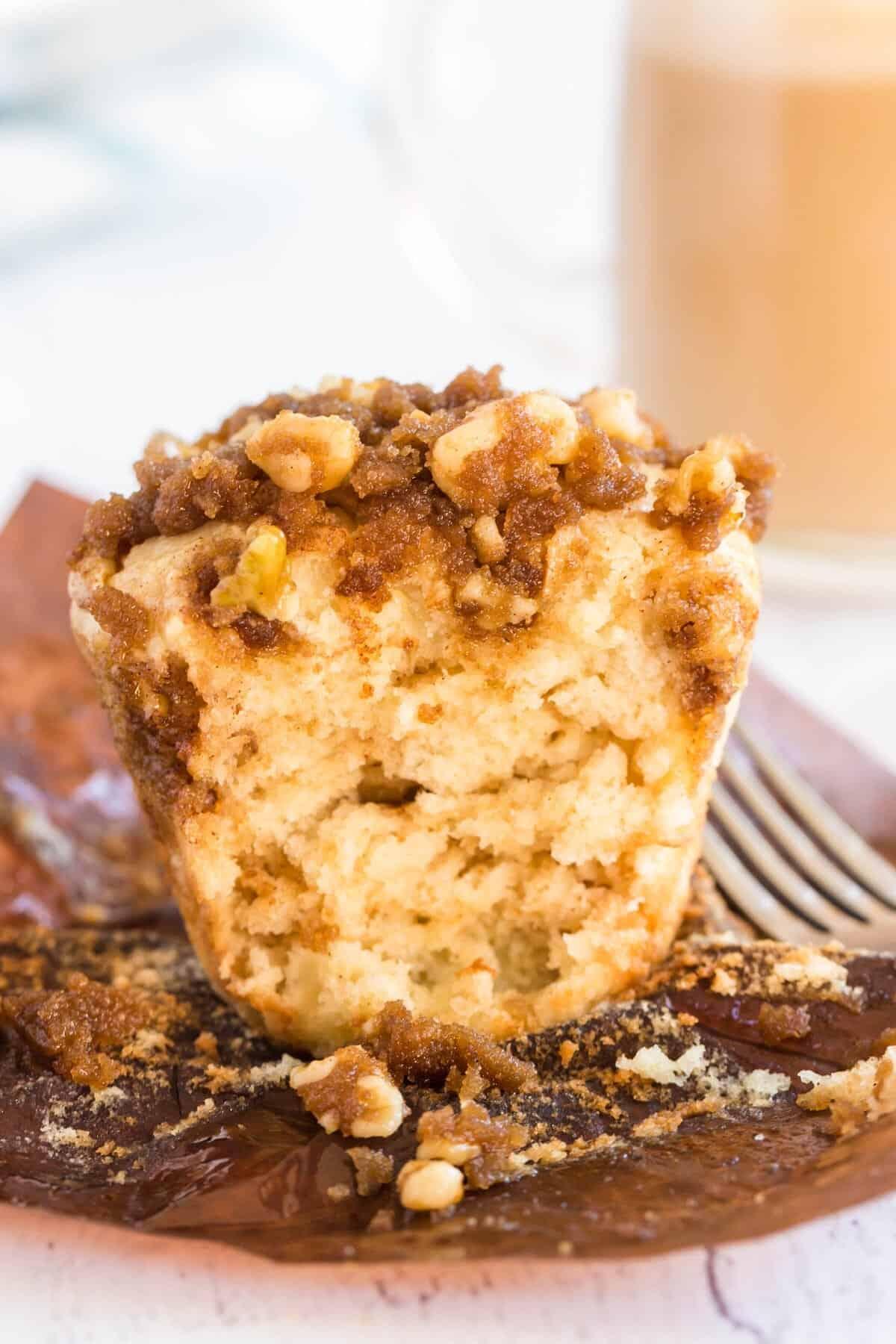 coffee cake muffin cut in half
