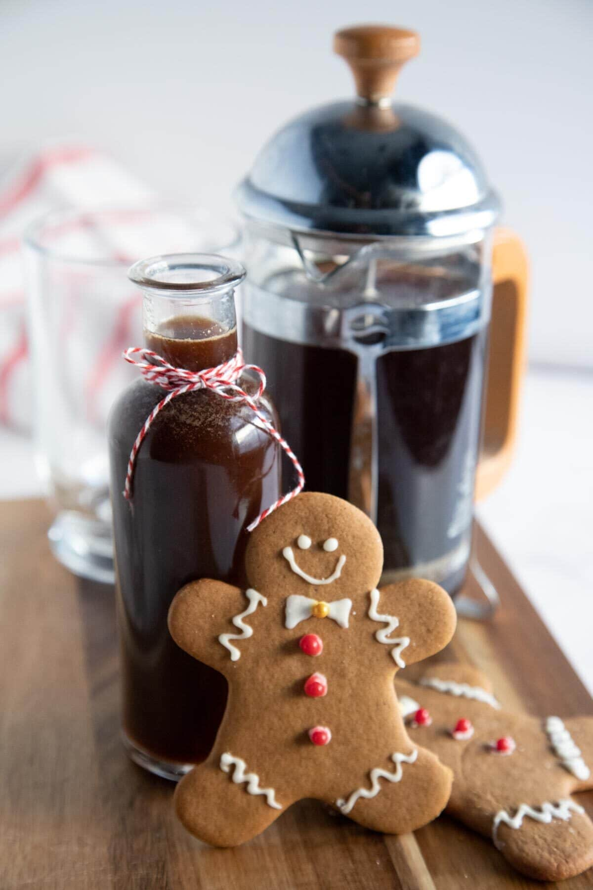gingerbread syrup in a bottle with gingerbread man
