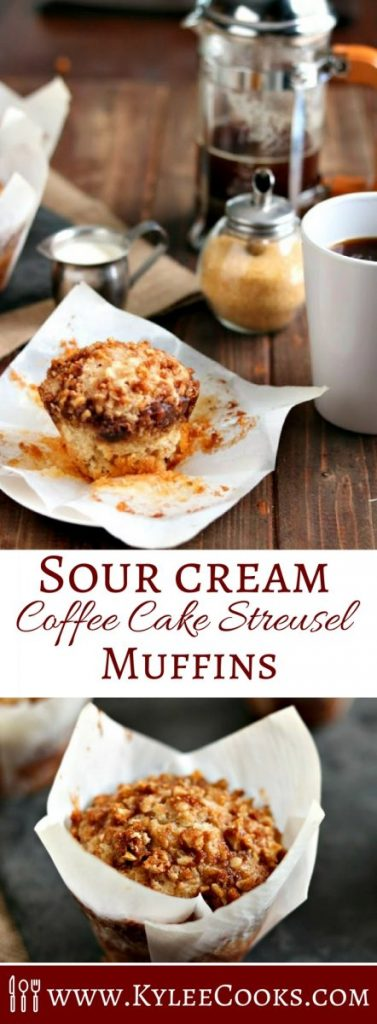 These light, tender coffee cake streusel muffins have a secret ingredient in the batter, and are topped with a walnut streusel. Perfect for breakfast, brunch, or a coffee date!
