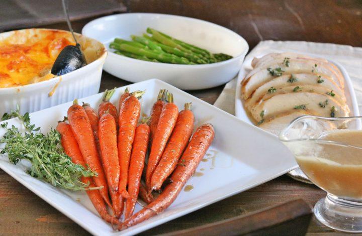 Bourbon Glazed Roasted Carrots with EASY Roasted Turkey (Video)