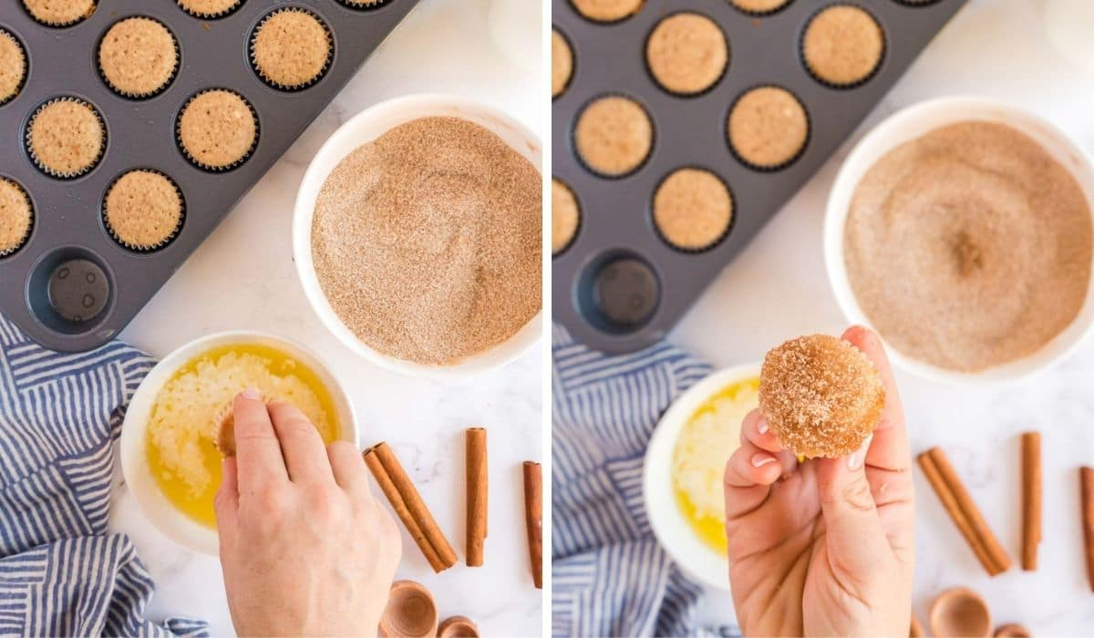 step by step instructions for dipping muffins in topping
