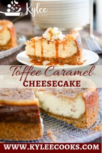 caramel cheesecake with text overlay