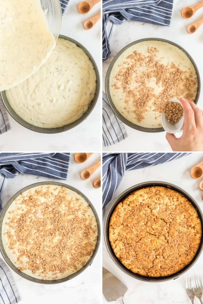 pouring cheesecake batter and baking