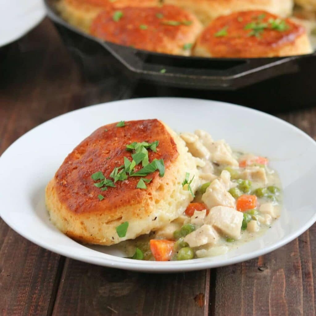Easy skillet chicken pot pie kylee cooks its a typical chicken pot pie base with onions garlic carrots and celery adding in flour thyme chicken stock a little half n half or milk forumfinder Choice Image