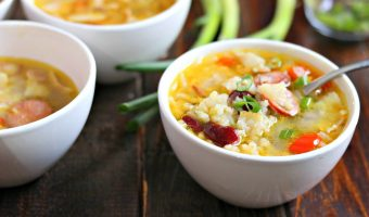 Quick Cajun Style Red Bean & Rice Soup with Andouille