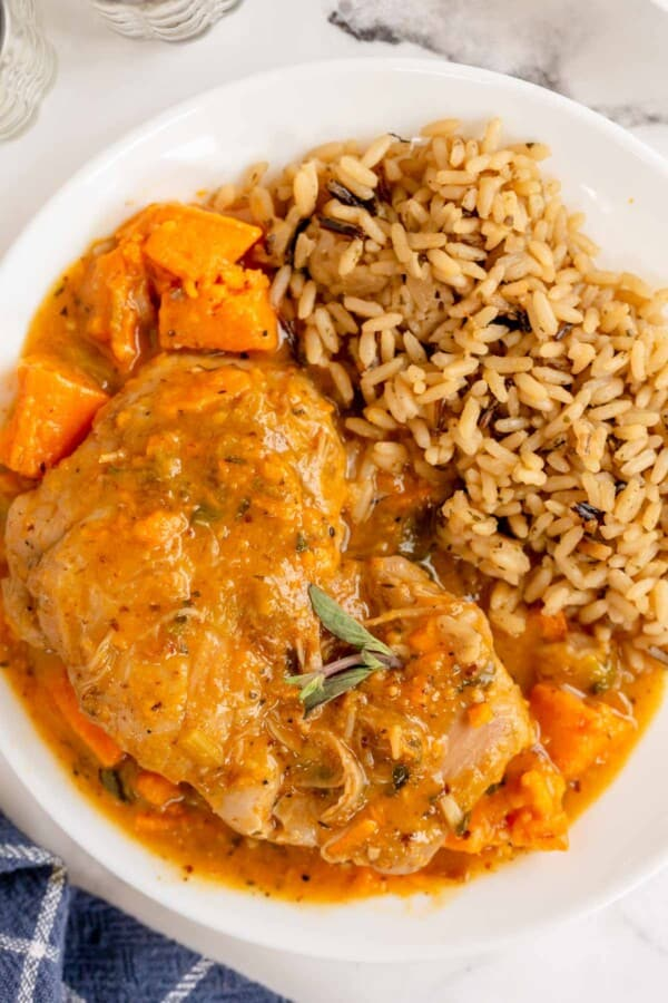 braised chicken thighs with brown rice in a white bowl
