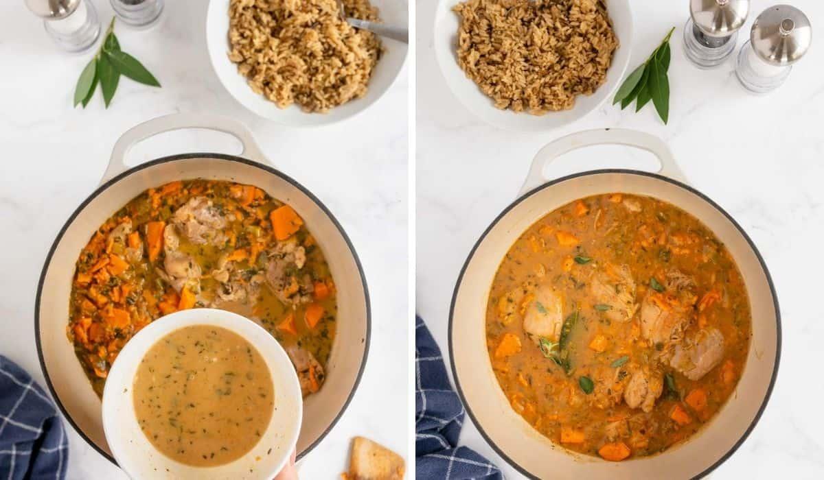 thickening the gravy for braised chicken