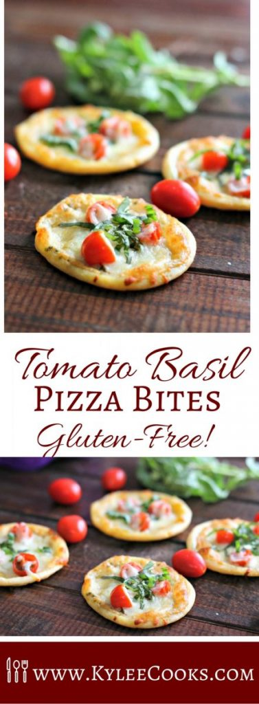 Tomato, basil and mozzarella feature in these 5-ingredient gluten free pizza bites. Super easy to make, delicious and totally addictive! [ad]