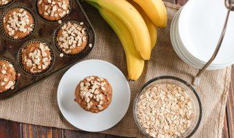 Whole Wheat Banana Oatmeal Muffins