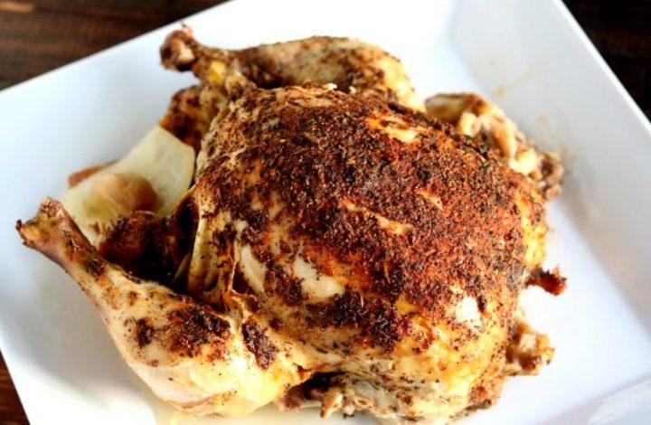 """Easy Crockpot """"Rotisserie"""" Chicken"""