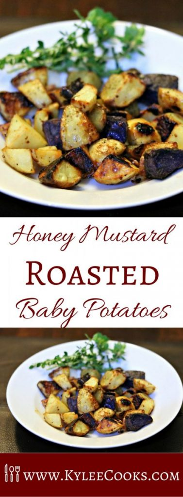 Delicious baby potatoes, with a homemade honey mustard sauce, and roasted in the oven until crispy and perfect. An excellent side for pretty much anything!