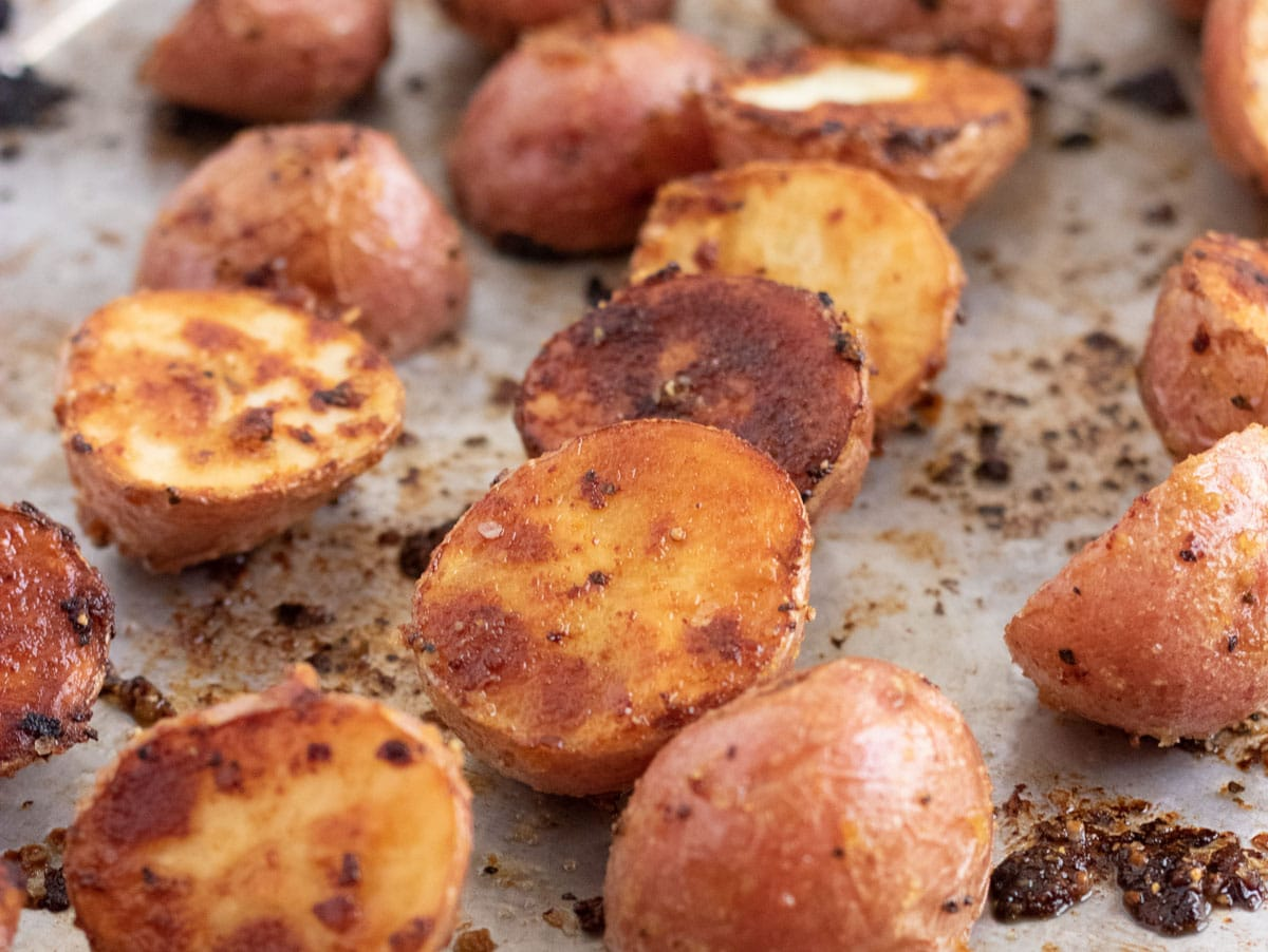 roasted baby potatoes on a baking sheet