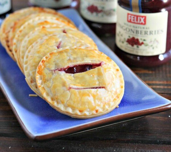 lingonberry hand pies on a blue plate