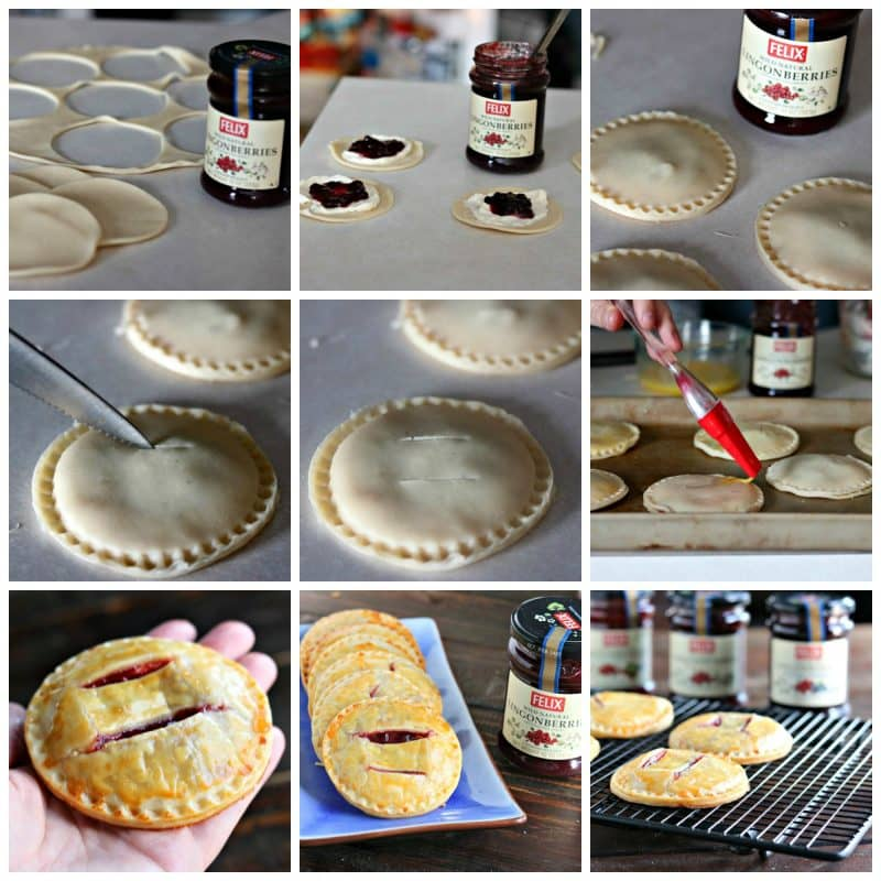 Collage of lingonberries and cream hand pies baking process.