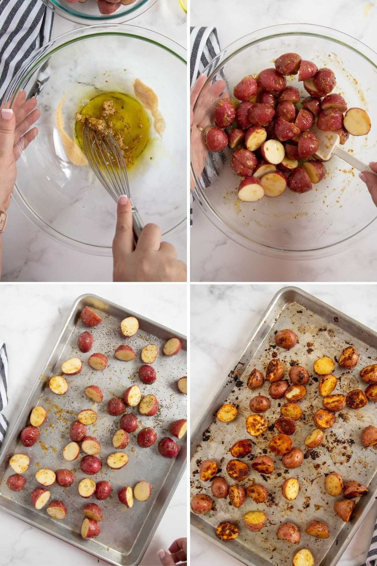 Roasted Baby Potatoes (with Honey Mustard) - step by step