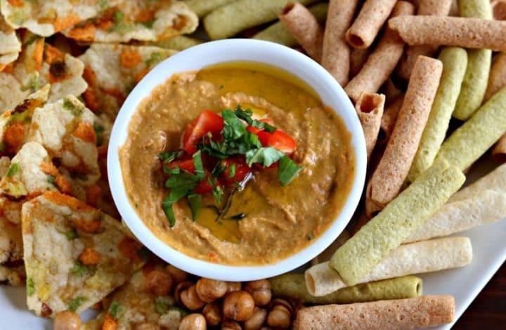 Roasted Tomato Basil Hummus+GIVEAWAY