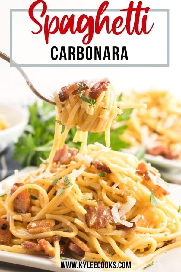 spaghetti carbonara pin with text overlay