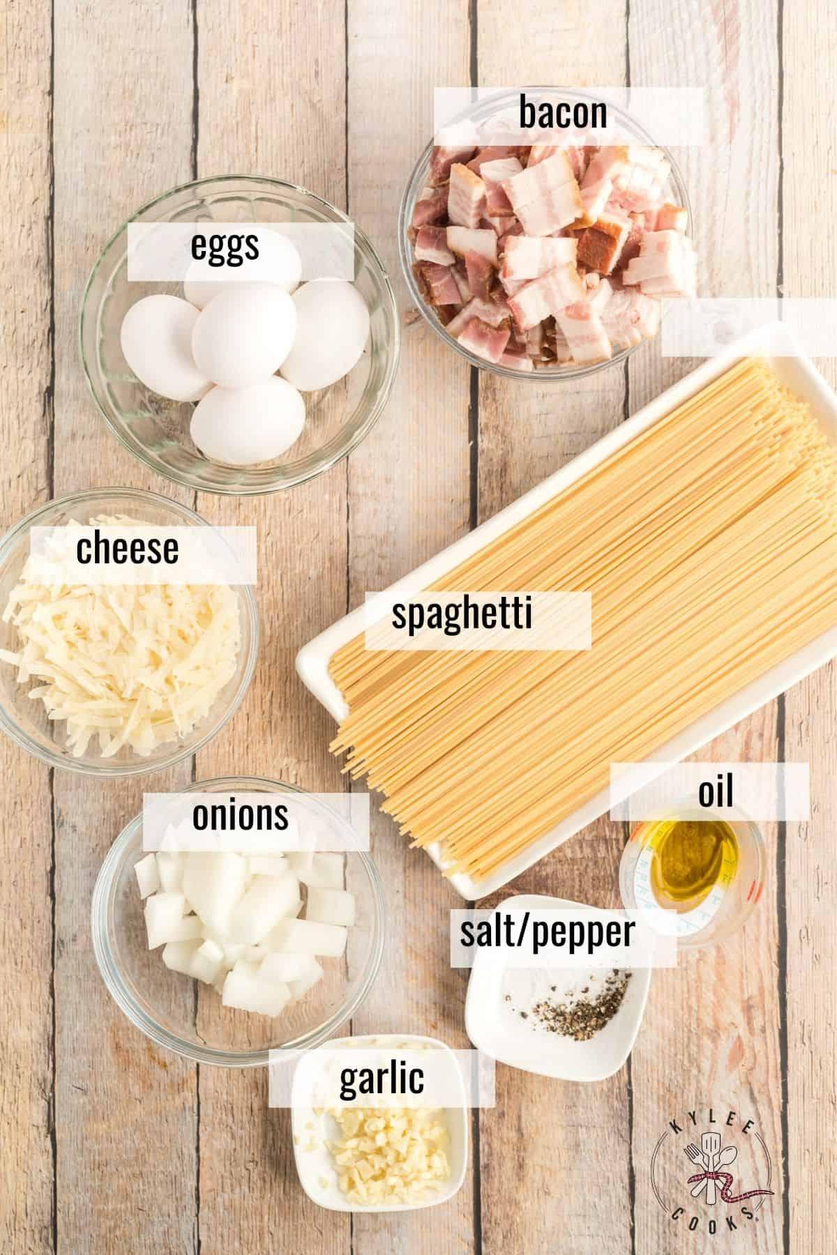 ingredients to make spaghetti carbonara