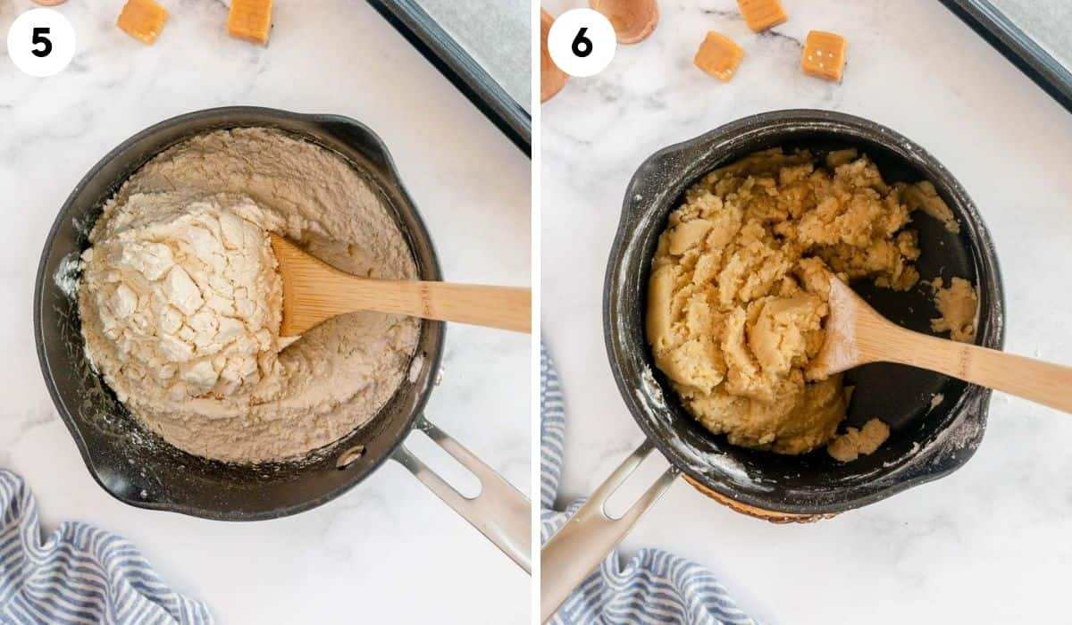 collage showing how to make the cookie dough for vanilla caramel cookies