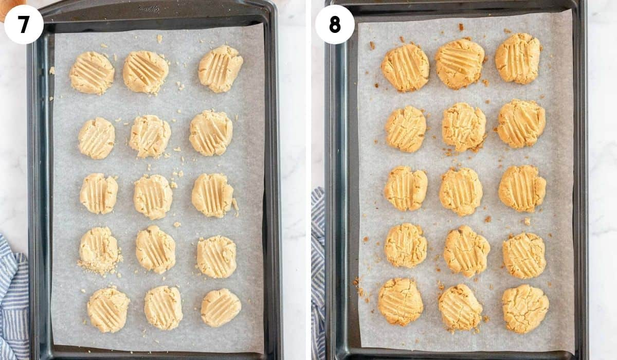 collage showing unbaked and baked vanilla caramel cookies