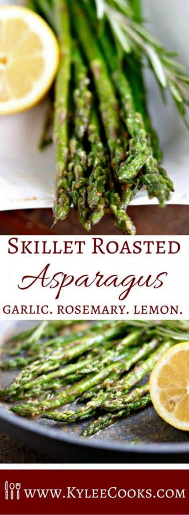 Make the most of fresh spring vegetables and flavors with this super easy Skillet Roasted Asparagus. A quick sauté, then finished in the oven – this yummy side goes perfect with everything! #spring #vegetables #asparagus
