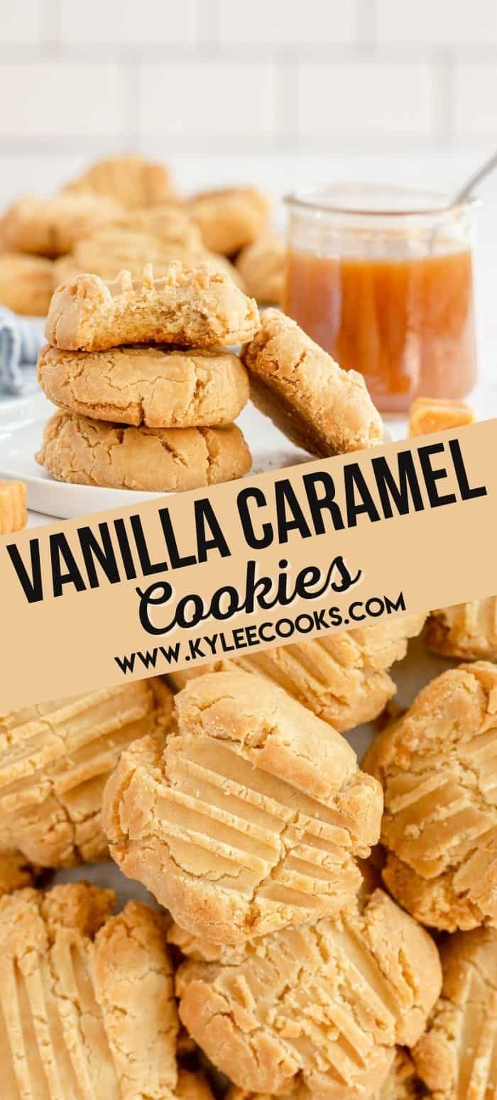collage of caramel cookies with text overlay