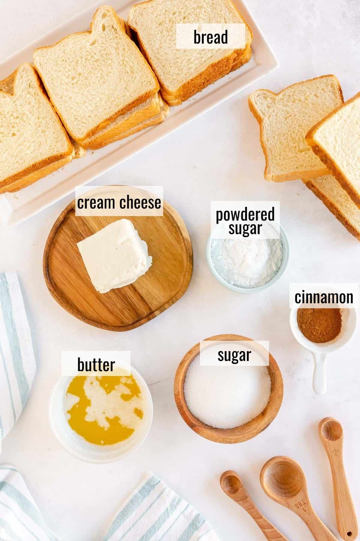 ingredients for cinnamon cream cheese roll ups laid out and labeled