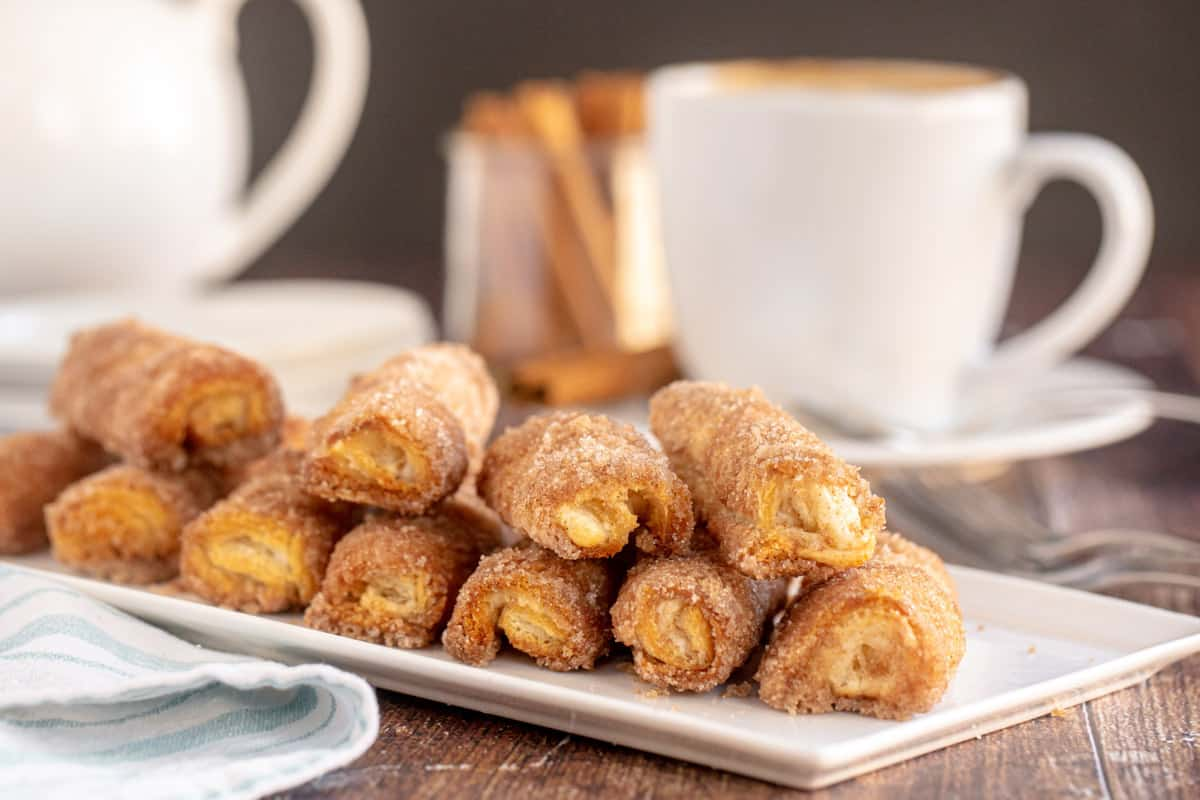 square platter of cinnamon roll ups