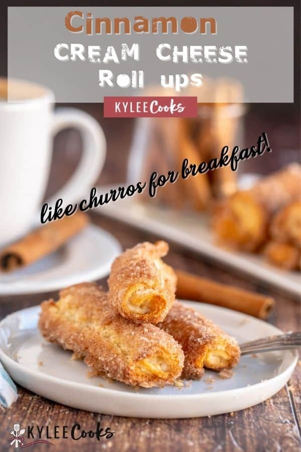 cinnamon cream cheese roll ups on a plate with the recipe title in text overlaid