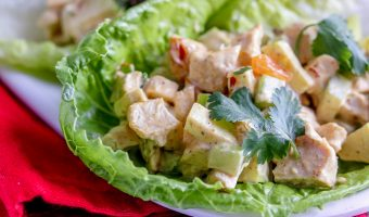 A brilliant make ahead curried chicken salad balanced with tart apples, sweet raisins, and finished with cilantro, this is one you will make over and over!