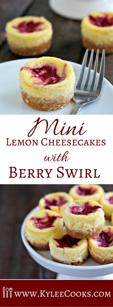 Mini Lemon Cheesecakes with a homemade Raspberry Puree swirled into the top. Enjoy 1, or 5 (I won't tell!). Great for making ahead!