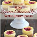 mini cheesecakes on a white stand, text overlay